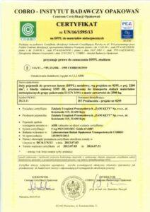 Certyfikat COBRO UN 3191 do przewozu towarów niebezpiecznych