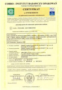 Certyfikat COBRO UN 3288 do przewozu towarów niebezpiecznych
